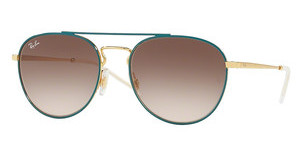 Ray-Ban RB3589 905613 LIGHT BROWN GRADIENT BROWNGOLD TOP ON GREEN
