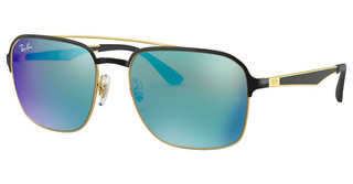 Ray-Ban RB3570 187/55 LIGHT GREEN MIRROR BLUEGOLD SHINY BLACK